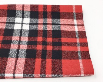 Red plaid flannel fabric, cozy black plaid Flannel by the yard, by Robert Kaufman, Mammoth Flannel in Christmas