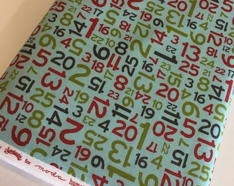 Christmas fabric, Quilting fabric, Cozy Quilt, Christmas or Winter Craft, Hometown Christmas, Numbers in Aqua - Choose the cut