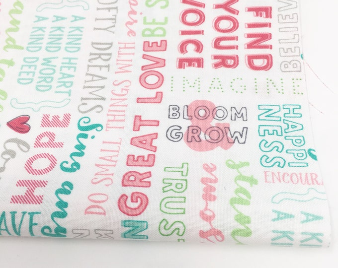 Fabric by the Yard, Flora and Fauna Fabric by Riley Blake, Cute Fabric, Girl Quilt Fabric,Flora and Fauna Words , choose the cut
