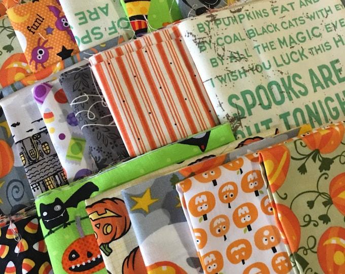 SALE Halloween Fabric, Halloween Scrap Pack of Designer Fabric, Fabric Shoppe fabrics. Best Seller! Halloween Quilt, 1/2 LB scraps!