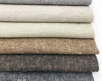 Linen Fabric, Essex Yarn Dyed Linen fabric bundle, Dress Fabric, Natural Fabric, Quilt Bundle, Fabric bundle of 6