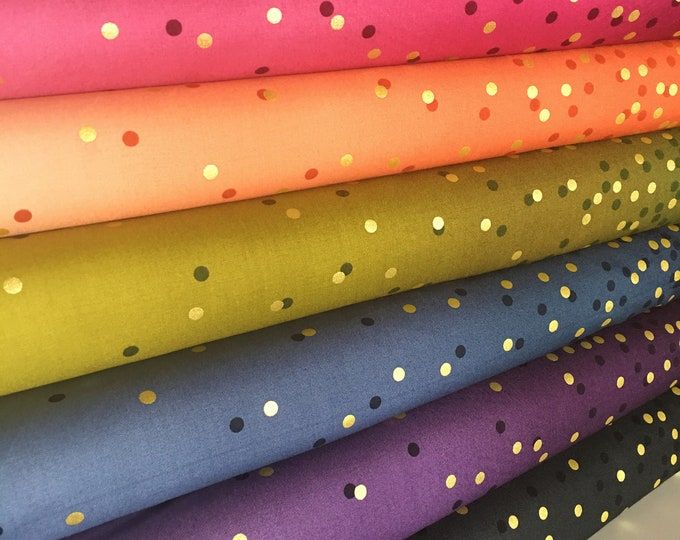 Ombre Confetti fabric by Vanessa Christenson, Gold Metallic Decor, Wedding fabric, Quilting, E Bundle of 6 fabrics, Choose the Cuts