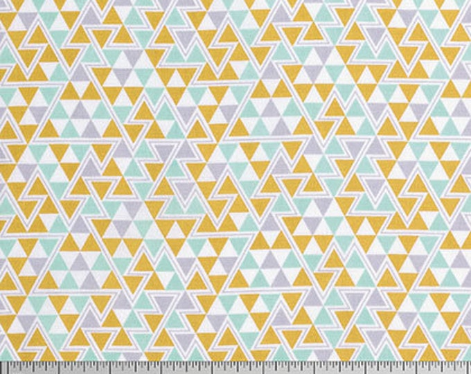 Geometric fabric, Tribal Fabric, Wander fabric, Rustic Home Decor, Feather fabric, Southwestern Decor, Triangles in Maize- Choose the cut