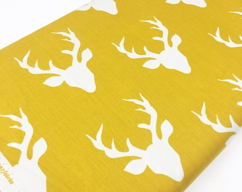 Hello Bear fabric, Deer Fabric by Bonnie Christine for Art Gallery Fabrics, Ivory Yellow fabric- Woodland Animal, Buck Forest in Mustard