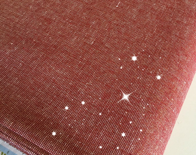 Linen Blend, Coton Linen, Metallic fabric, Gold Sparkle Fabric, Essex Linen, Apparel, Wedding Decor Fabric, Metallic Essex in Ruby/Gold
