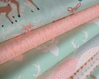 Woodland Blanket fabric, Woodland Nursery fabric, Rustic Home Decor, Hello Bear, Deer bedding fabric, Bundle of 6- You Choose the Cut