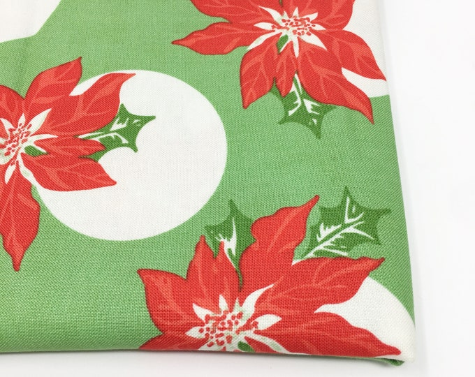 Christmas Fabric, Vintage Santa, Christmas Quilt, Quilting bundle, Vintage Quilt, Swell Christmas Fabric, Poinsettia Green, Choose the Cut
