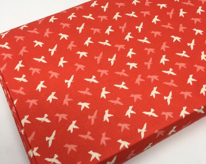 SALE fabric, red bird cotton fabric by the yard, Yardage for Quilting or Sewing, Discount fabric