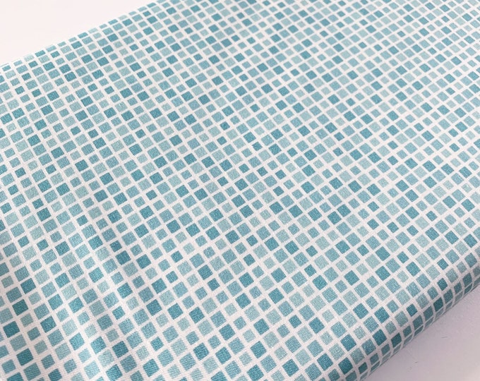 SALE fabric, aqua blue cotton fabric by the yard in geometric pattern for quilts and patchwork or sewing