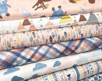 Quilting Fabric, Wild and Free Fabric, Adventure, Woodland Girl Quilt- Wild and Free Pink Bundle of 7