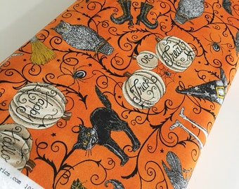 Halloween Fabric, Halloween Party Decor, Skull, Witch, Spider, Fabric by the Yard, Bewitching Fabric by Moda, Main in Orange, choose the cut