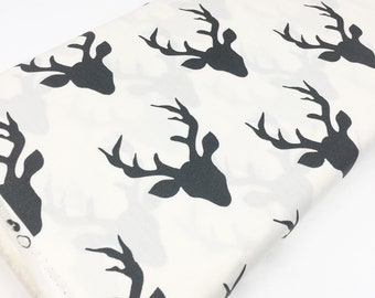 Hello Bear fabric, Woodland Quilt fabric, Woodland Blanket fabric, Deer Fabric, Buck Forest Night, Ivory fabric, Choose the cut
