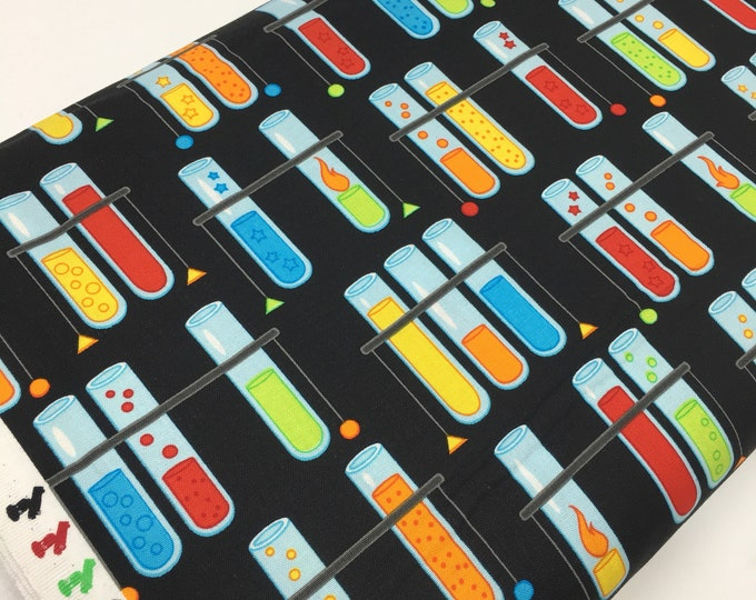 Science Fair Fabric, Surgery Cap fabric, Chemistry, Biology, Science Fabric, School, Nerd, Math Fabric, Test Tubes Multi, Choose the Cut