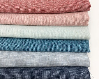 Linen Cotton Fabric, Essex Yarn Dyed Linen fabric bundle, Dress Fabric, Natural Fabric, Quilt Bundle, Fabric bundle of 6