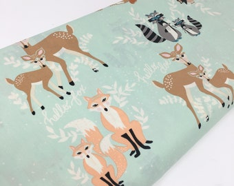 Hello Bear fabric, Mint Coral Nursery Decor, Mint Green fabric, Deer, Bear, Fox, Racoon, Gender Neutral Quilt- Oh Hello in Meadow