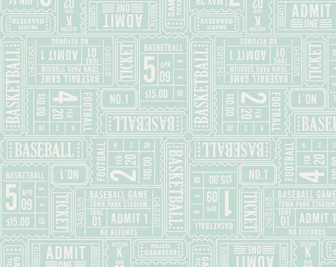 SALE fabric, Sports fabric, Football Fabric, Boy Nursery, Play Ball fabric by Riley Blake, Play Ball Tickets in Aqua, Fabric by the Yard