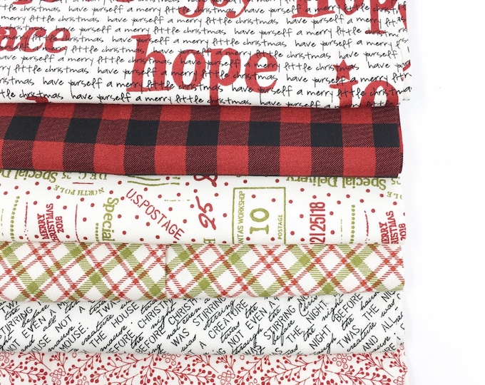 Christmas fabric bundle, Christmas Quilting or Crafting, Red Plaid, Special Delivery by Moda- Holiday Fabric Bundle of 6