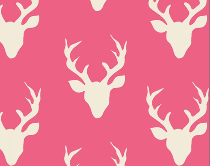 NEW Buck Forest in Camellia Pink, Pink Nursery, Woodland Baby Quilt, Hello Bear fabric, Pink Deer fabric, You choose the cut