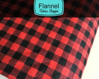 Burly Beavers Fabric, Baby Blanket Plaid, Flannel fabric, Plaid in Red, Hipster, Robert Kaufman- Choose the cut. Free Shipping Available