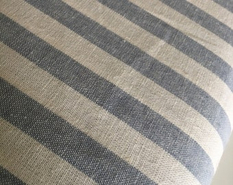 Essex Linen Classic Yarn Dyed Wovens, Linen Blend fabric,  Apparel Fabric, Dress fabric, Striped Linen, Essex Wovens Stripe in Chambray