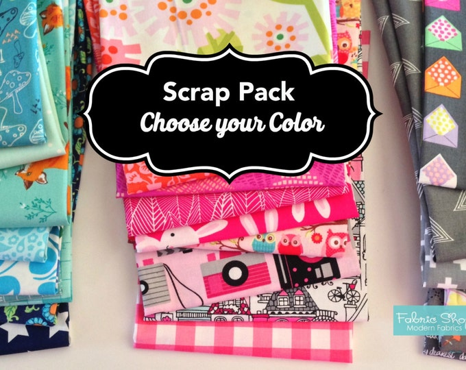 Fabric Scraps, Patchwork, Scrappy Quilt, Fabric Remnants, Bulk Fabric, Fabric Scrap Bag, Sewing or Quilting, Best Seller! Choose the Color