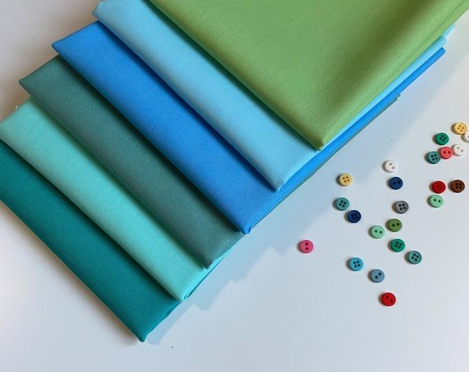 Fabric Scrap bundle, Kona Cotton blue green fabric bundle,  100% cotton,  Perfect for English Paper Piecing or Patchwork, Kids Crafts