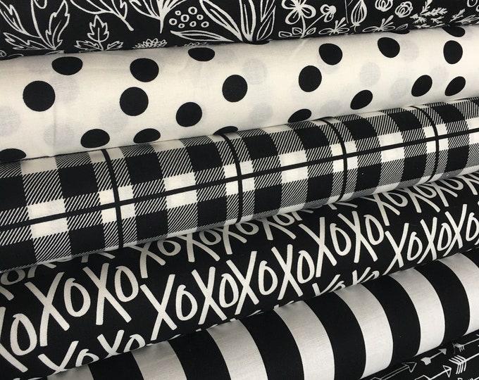 Black White fabric, Modern Nursery fabric, Quilting fabric, Black White decor, Arrow, Plaid, Yes Please Bundle of 6- Choose the Cuts