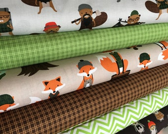Fabric Bundle, Fabric by the Yard, Campsite Critters, Fox Fabric Quilt, Burly Beaver, Baby Shower Gift, Bundle of 6, Choose the Cuts
