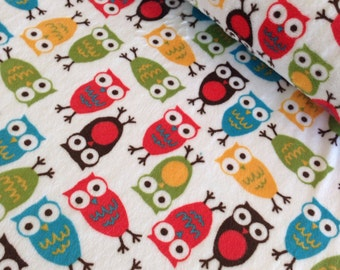 SALE Cuddle Minky Fabric by Anne Kelle for Shannon Fabrics, Owls in Cherry, 1 Yard or by the Yard