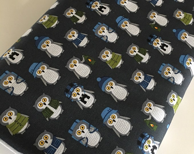 Cotton Fabric by the Yard, Owl Quilting Fabric, Campsite Critters, Camping Outdoors, Explore, Gift for Baby, Owls in Lake, Choose the cut