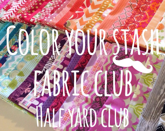 Color your stash fabric club membership with free Aurifil thread- Join today- 8 Half Yards per month