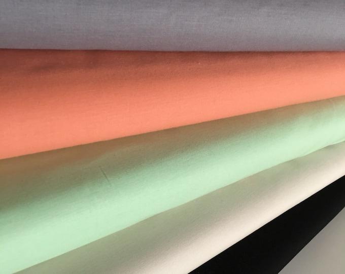Kona Solid Bundle to match Hello Bear Fabrics, Includes *Medium Gray, Creamsicle, Mint, Ivory, Black*, Bundle of 5, Choose the Cuts