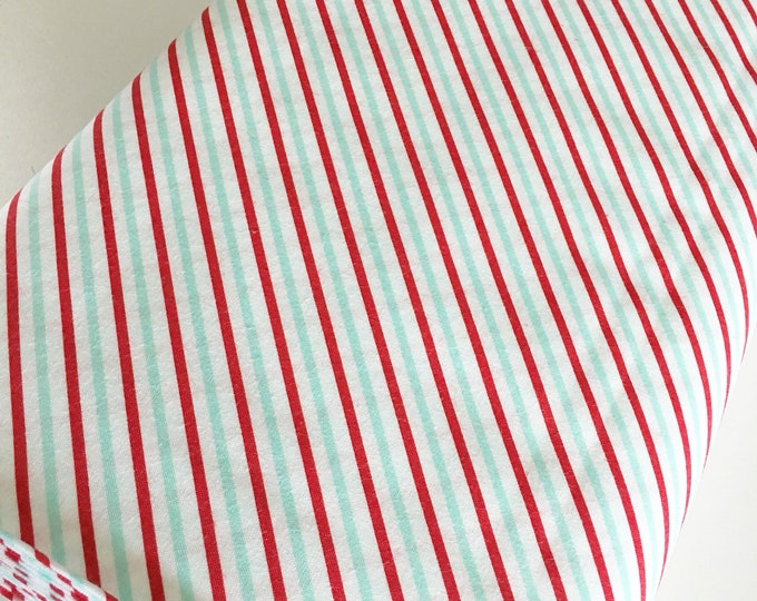 Christmas Fabric, Vintage Holiday fabric by Thimble blossoms, Christmas Quilts, Holiday Stripe in Aqua Red, choose the cut