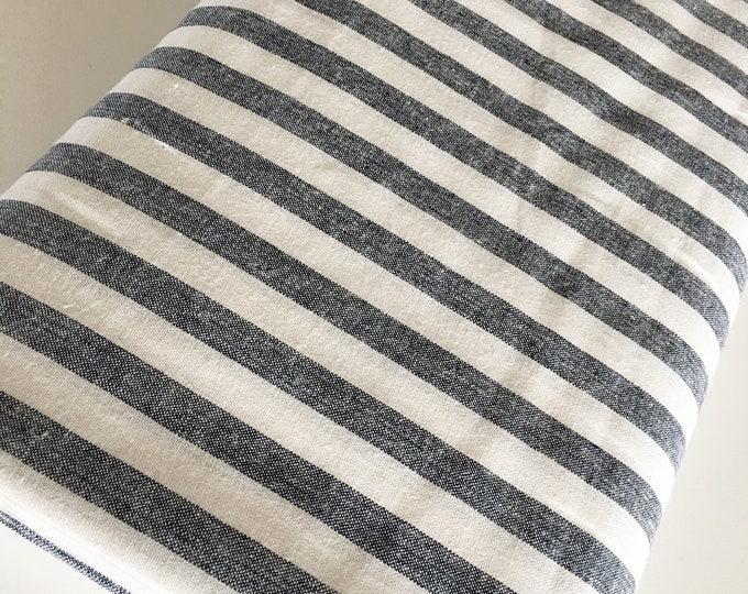 Essex Linen Classic Yarn Dyed Wovens, Linen Blend fabric,  Apparel Fabric, Dress fabric, Striped Linen, Essex Wovens Stripe in Indigo