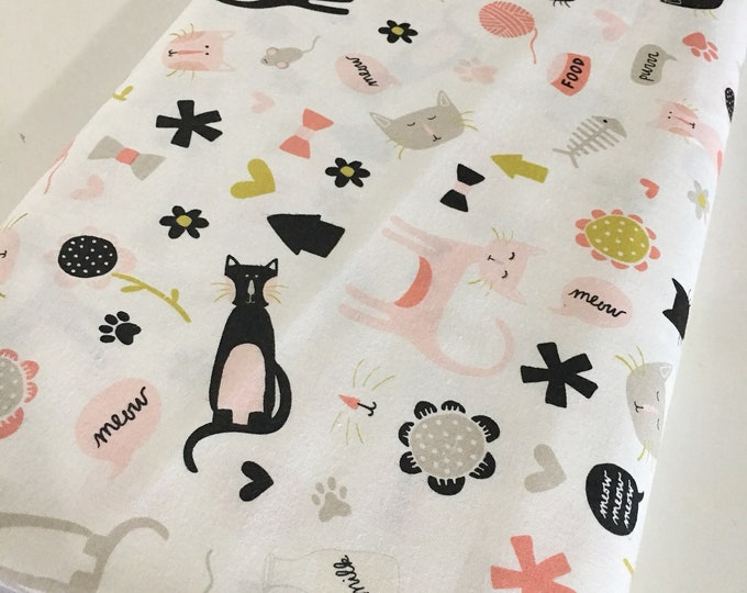 Cat Fabric, Pet Fabric, Gift for Pet, Christmas Gift for Pet Lover, Meow by Riley Blake, Meow Main White - Choose the cut