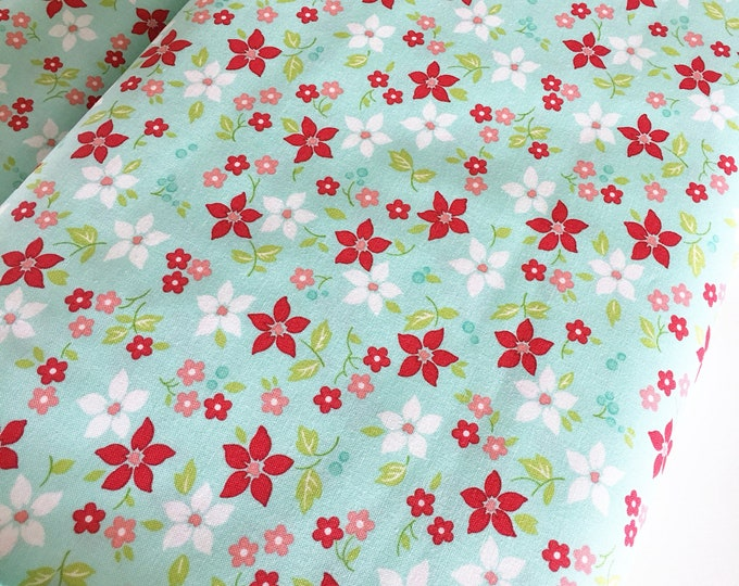 Christmas Fabric, Vintage Holiday fabric by Thimble blossoms, Christmas Quilts, Holiday Flowers in Aqua, choose the cut