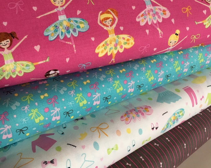 Fabric by the Yard, Ballet Decor, Ballet Fabric, Baby Shower Gift, Dance Party, Ballerina Bows Fabric bundle of 4- Choose the Cuts