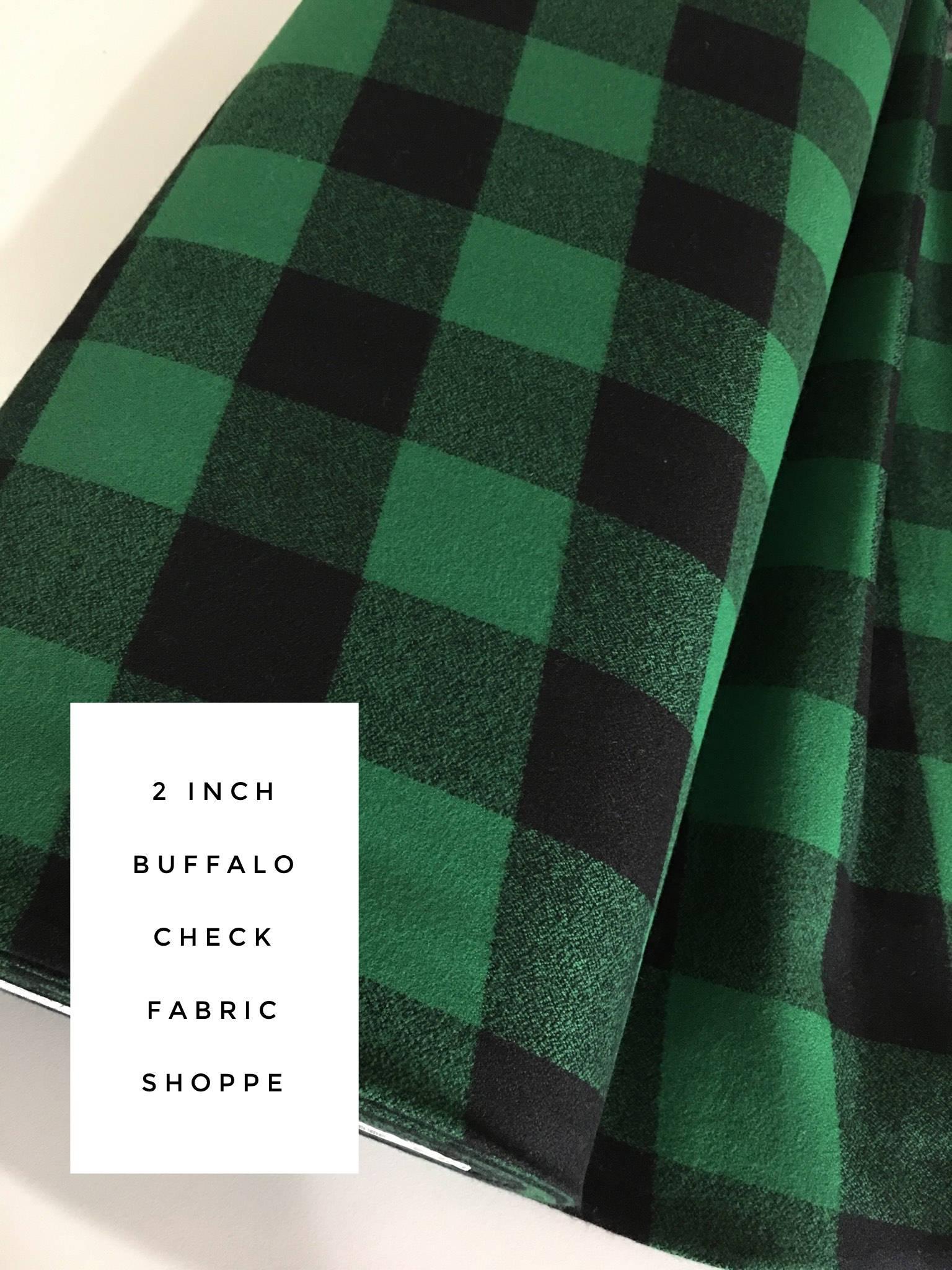 Green Robert Kaufman Kaufman Mammoth Flannel Buffalo Check Large Fabric by The Yard