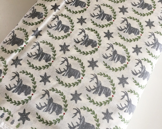Christmas Fabric, Hearthside Holiday fabric by Moda Fabrics, Christmas Quilts, Hearthside Holiday Buck in white, choose the cut