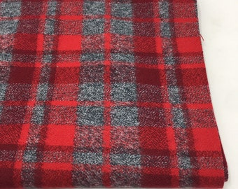 Red flannel fabric, cozy gray plaid Flannel by the yard, by Robert Kaufman, Mammoth Flannel Red Gray