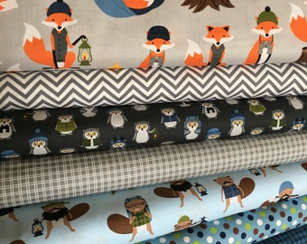 Fabric by the Yard, Fat Quarter Bundle, Campsite Critters, Fox Fabric Quilt, Baby Shower Gift, Beaver Nursery, Bundle of 8, Choose the Cuts