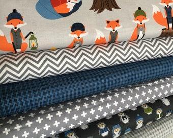 Fabric by the Yard, Fat Quarter Bundle, Campsite Critters, Fancy Fox Fabric Quilt, Burly Beaver, Blue Nursery, Bundle of 6, Choose the Cuts