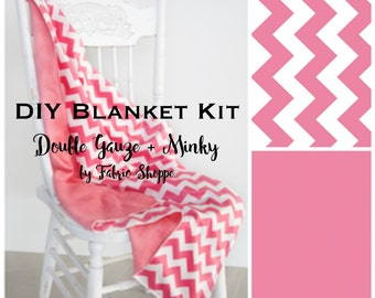 DIY Baby Blanket Kit, Beginner Sewing Kit, Quilt Kit, Double Gauze Fabric, Pink Fabric, Chevron, Baby fabric, Baby Gift, Make it Yourself