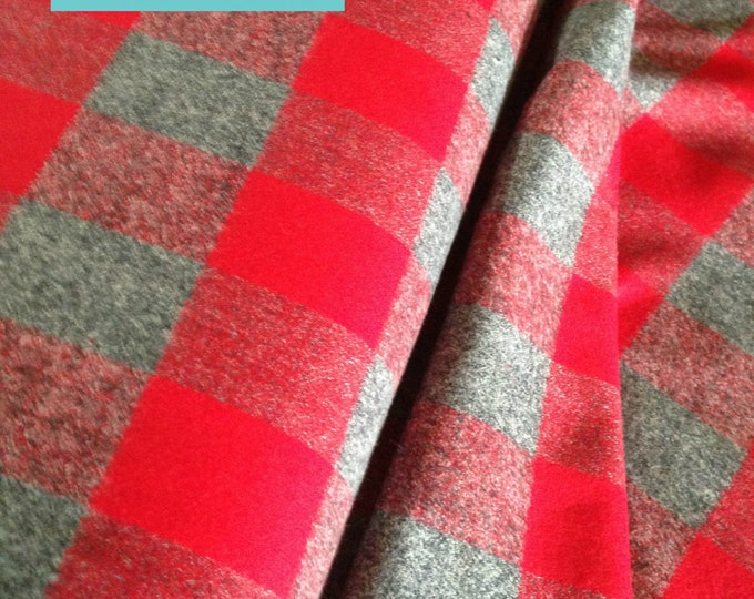 Buffalo Plaid, Hipster Flannel fabric, Flannel by the yard, Lumberjack Chic, Mammoth Flannel, Medium Plaid in Red/gray 124, Kaufman, Blanket