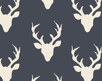 Hello Bear fabric by Bonnie Christine, Navy Ivory - Buck Forest Twilight, Fat Quarter, Half Yards or Yardage- You Choose the Cut