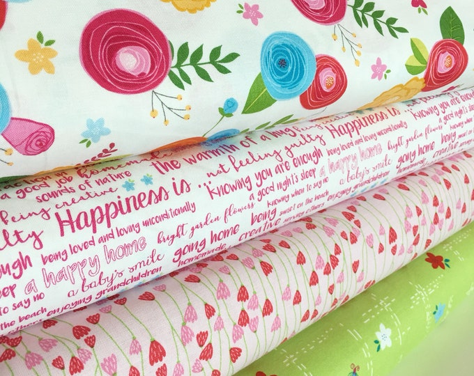 Simply Happy fabric bundle by Riley Blake, Quilting fabric, Floral fabric,  Fabric Bundle of 4