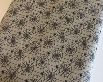 Halloween fabric, Hocus Pocus, Fabric Shoppe fabrics, halloween party or decor fabric Moda fabrics, Halloween Webs in Gray, Choose the cut