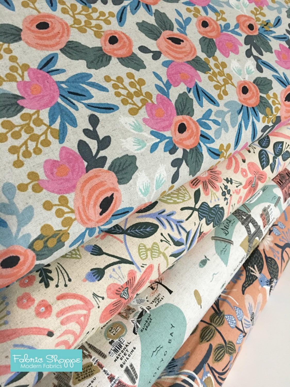 rifle paper co fabric sale canvas linen fabric cotton and steel fabric les fleurs home. Black Bedroom Furniture Sets. Home Design Ideas