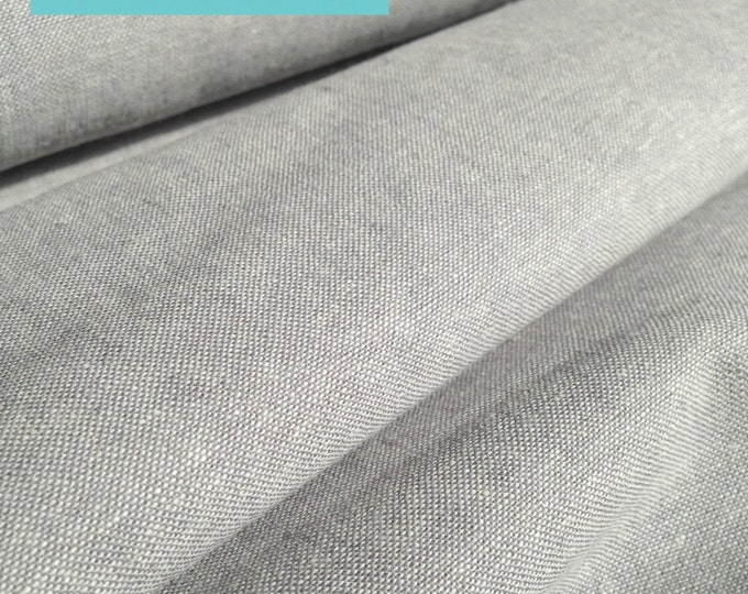 Fabric by the Yard, Linen Fabric for Linen Curtains, Linen Apron or Home Decor, Rustic Decor,  Essex Yarn Dyed Linen Steel, Choose the cut