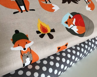 Fabric Bundle, Fabric by the Yard, Campsite Critters, Animal Fabric, Embroidery Fabric,  Baby Shower Gift, Bundle of 2, Choose the Cuts